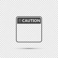 icona del segno di attenzione simbolo, punto esclamativo, icona pericolosa di avvertimento su sfondo trasparente vettore