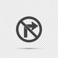 non svoltare a destra cartello stradale su sfondo trasparente vettore