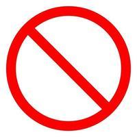 Nessun segno vuoto rosso barrato cerchio, segno non consentito isolare su sfondo bianco, illustrazione eps.10 di vettore
