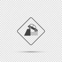 attenzione scogliera avanti segno su sfondo trasparente vettore