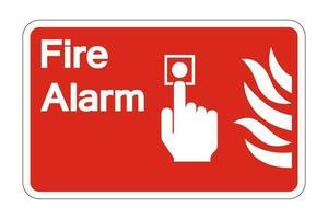 segno di simbolo di controllo allarme antincendio su sfondo bianco, illustrazione vettoriale