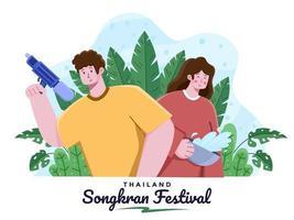 Songkran Water Festival Thailandia illustrazione piatta. cartone animato thailandia festa di capodanno. festival nazionale thailandese di songkran. felice festival di songkran. le coppie celebrano il festival di songkran. vettore