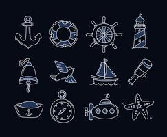Icone nautiche disegnate a mano vettore