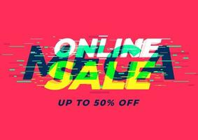 modello di banner di vendita mega online. vettore