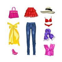 set di abbigliamento e accessori femminili. gonna, jeans, vestito, top, sciarpa, cappello, biancheria intima, scarpe, borsa. illustrazione vettoriale. Isolato su sfondo bianco vettore