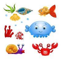 pesce vettoriale su uno sfondo bianco. personaggi dei cartoni animati di pesce. pesce isolato su uno sfondo bianco. pesce di mare. illustrazione vettoriale