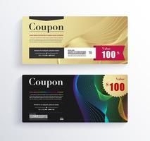 modello di progettazione coupon regalo oro di lusso. vettore