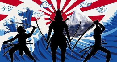 silhouette samurai del Giappone con la bandiera del sole che sorge onda vettore
