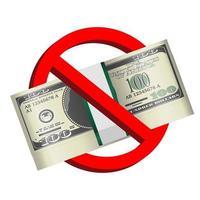 cartelli di divieto con pacco di banconote in dollari vettore