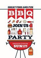 stile icona festa barbecue alla griglia per auto invito o flyer o poster vettore