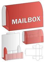 disegno del modello fustellato di imballaggio della cassetta postale. Modello 3d vettore