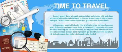 tempo di viaggiare con aereo e oggetto di viaggio vettore