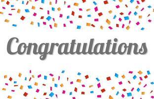 cornice colorata congratulazioni con coriandoli colorati vettore