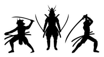 tre posizioni samurai silhouette uno sfondo bianco vettore