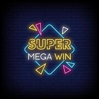 super mega win insegne al neon stile testo vettoriale