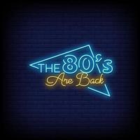 gli anni '80 sono tornati al neon in stile testo vettoriale