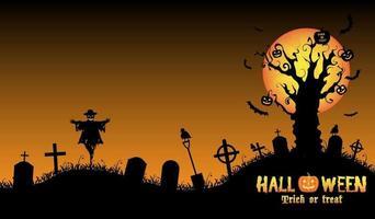 mano di zombie di Halloween sulla tomba con albero morto vettore
