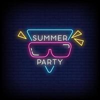 vettore del testo di stile delle insegne al neon del partito di estate