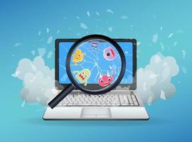virus trovato su un laptop rotto vettore