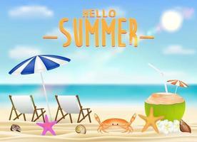 ciao estate con sedia rilassante, bevanda al cocco sulla spiaggia vettore