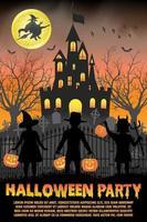 festa in costume di halloween per bambini davanti al poster del castello infestato dalla strega vettore