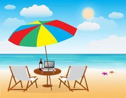 priorità bassa della spiaggia del mare di estate vettore