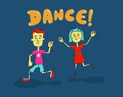 bambini che ballano vettore