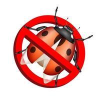 nessun segno di divieto di bug vettore su sfondo bianco