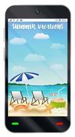 smartphone con schermo spiaggia di sabbia vacanze estive vettore