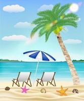 rilassarsi sulla sedia a sdraio su una spiaggia di sabbia di mare vettore