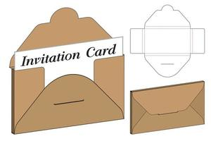 busta fustellata mock up modello illustrazione vettoriale. vettore