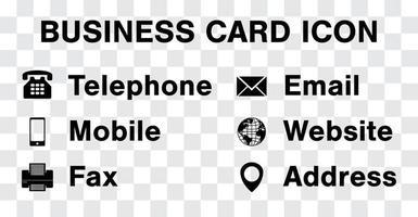 vettore icona nera impostato per biglietto da visita aziendale