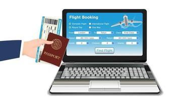 prenotazione di volo online laptop con passaporto del biglietto vettore