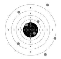 vettore di bersagli di carta da tiro con la pistola con sfondo bianco