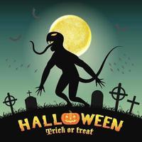 mostro di sagoma di Halloween in un cimitero notturno vettore
