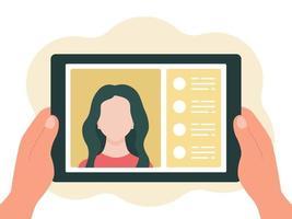 tablet in mano, chat online. il concetto di comunicazione virtuale. illustrazione vettoriale in uno stile piatto isolato su uno sfondo bianco