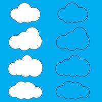 icona di arte linea nuvole raccolta di illustrazione piatto cielo per il web. illustrazione vettoriale