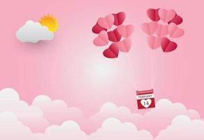 San Valentino, palloncino a forma di cuore fluttuante nel cielo, sfondo rosa, carta d'arte vettore