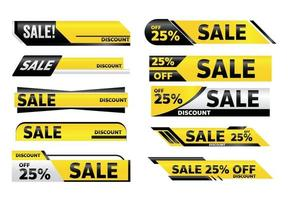 vendita banner giallo promozione tag design per il marketing vettore