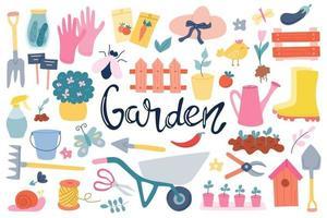 un ampio set sul tema del giardinaggio, attrezzi, articoli da giardino, scritte a mano. primavera, ortaggi in crescita. illustrazione vettoriale in uno stile piatto su uno sfondo bianco
