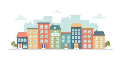 panorama della città con case a più piani colorate su sfondo bianco. illustrazione vettoriale piatta in stile cartone animato