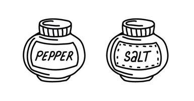 insieme disegnato a mano di spezie sale e pepe isolato su uno sfondo bianco in stile doodle. condimenti per cucinare. illustrazione vettoriale disegnato a mano