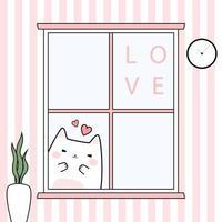 simpatico gattino paffuto saluto dietro la finestra carta di doodle del fumetto vettore