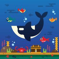 orche sotto il mare vettore