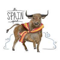 Toro che indossa la bandiera della Spagna