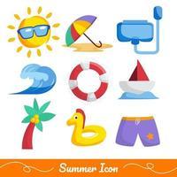 collezione di icone di spiaggia estiva vettore
