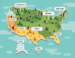Vettore della mappa del punto di riferimento degli Stati Uniti