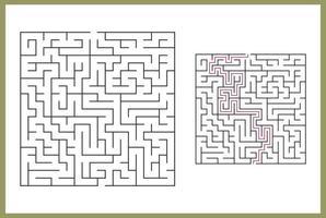 labirinto per bambini. labirinto quadrato astratto. trova la strada per il dono. gioco per bambini. puzzle per bambini. enigma del labirinto. illustrazione vettoriale piatto isolato su sfondo bianco. con il vettore libero di risposta