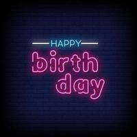 buon compleanno insegne al neon stile testo vettoriale