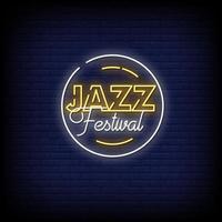 vettore del testo di stile delle insegne al neon del festival jazz